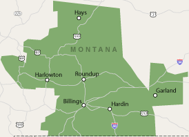 Our Montana service area map, showing our services in Forsyth, and nearby